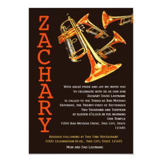 "Trumpet Music Bar Mitzvah 5"" X 7"" Invitation Card"