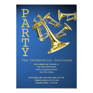 Trumpet Music Bar Mitzvah Reception Card