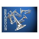 Trumpet Music Dark Blue Thank You Flat Card