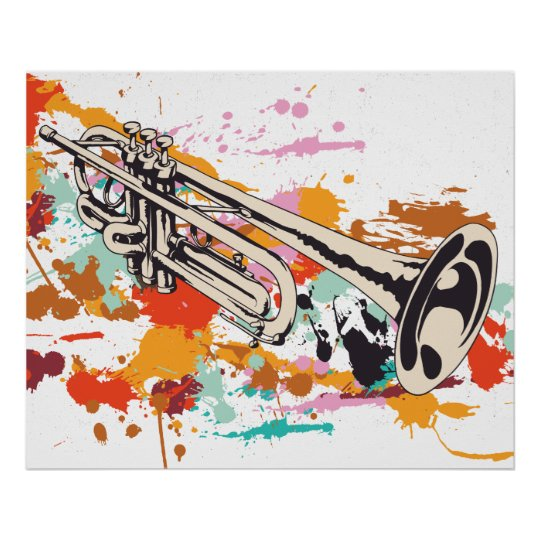trumpet music instrument custom print poster zazzle com