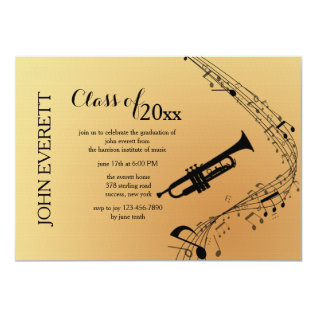 Trumpet Musical Instrument Invitation at Zazzle