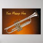 Trumpet on Gold Print