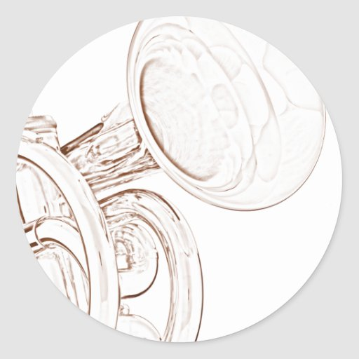Trumpet or Cornet Round Stickers