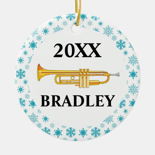 Trumpet Personalized Band Christmas Gift Ceramic Ornament
