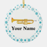 Trumpet Personalized Music Band Christmas Ceramic Ornament
