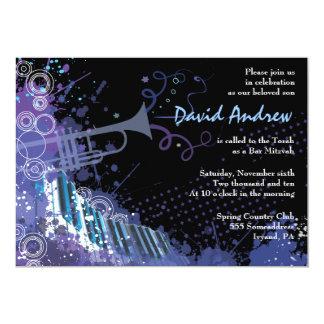 Trumpet & Piano Musical Bar Bat Mitzvah Invitation