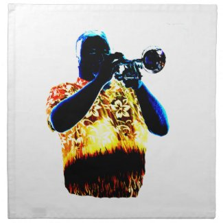 Trumpet Player Blues Orange Red shirt napkin