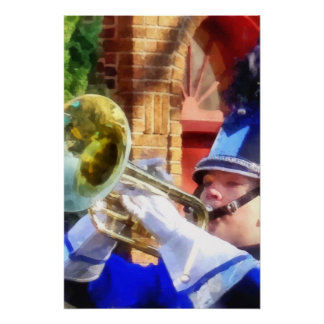 Trumpet Player in Marching Band Poster