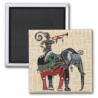 Trumpet Player 2 Inch Square Magnet