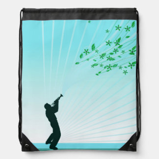 Trumpet Player Melody Flows Drawstring Bag