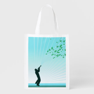 Trumpet Player Melody Flows Grocery Bags