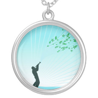 Trumpet Player Melody Flows Silver Plated Necklace
