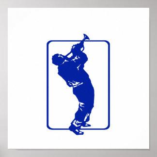 trumpet player outline park n blow blue.png poster