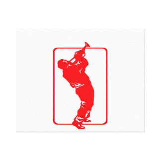 trumpet player outline park n blow red.png canvas print