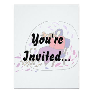 trumpet player wearing red and purple graphic 4.25x5.5 paper invitation card