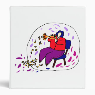 trumpet player wearing red and purple graphic binder