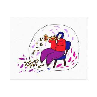 trumpet player wearing red and purple graphic canvas print