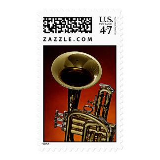Trumpet Poatage Stamp on Blue Background