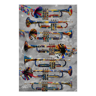 Trumpet Poster Colorful Trumpet Wall Art by Juleez