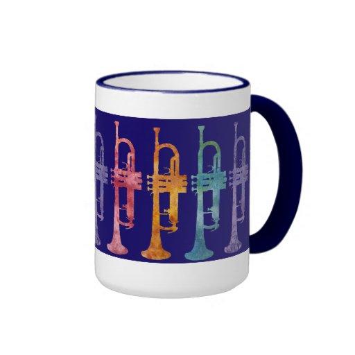 Trumpet Rainbow on Blue Mugs