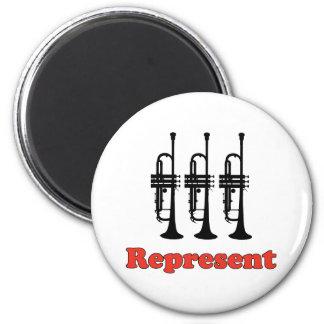 Trumpet Represent 2 Inch Round Magnet