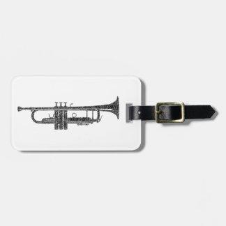 Trumpet Shaped Word Art Black Text Luggage Tag