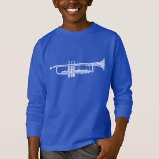 Trumpet Shaped Word Art White Text T-Shirt