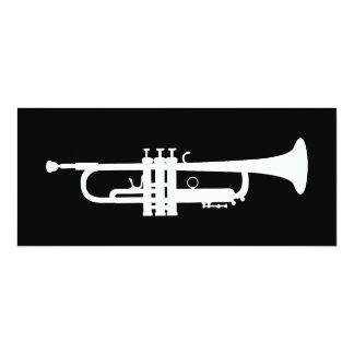 """trumpet silhouette 4"""" x 9.25"""" invitation card"""