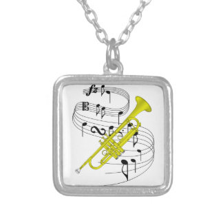 Trumpet Silver Plated Necklace