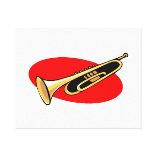Trumpet Simple Design Red Background Canvas Print