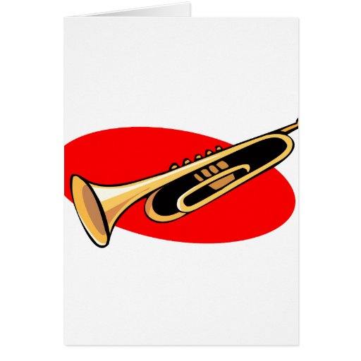 Trumpet Simple Design Red Background Greeting Cards