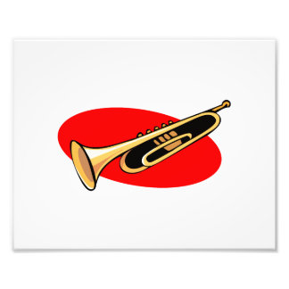 Trumpet Simple Design Red Background Photographic Print