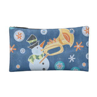 Trumpet Snowman Making Christmas Holiday Music Cosmetics Bags