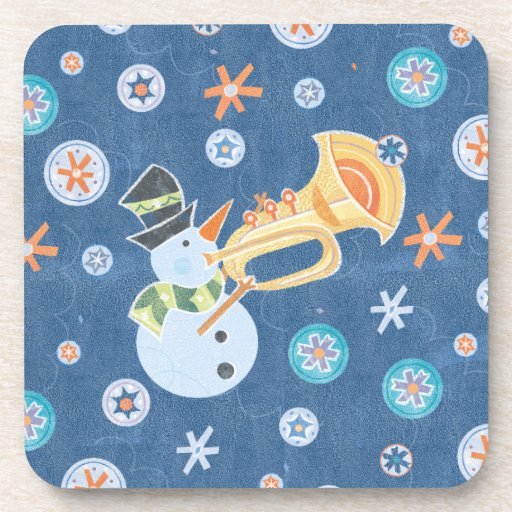 Trumpet Snowman Making Christmas Holiday Music Drink Coasters