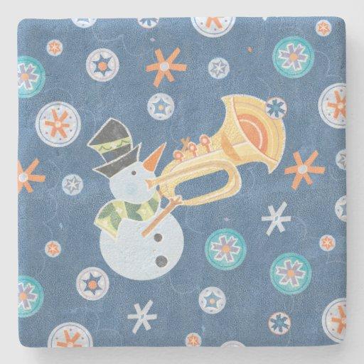 Trumpet Snowman Making Christmas Holiday Music Stone Beverage Coaster