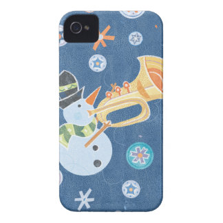 Trumpet Snowman Making Christmas Holiday Music iPhone 4 Case