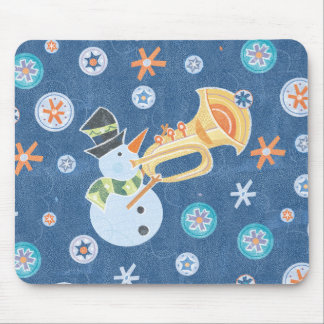 Trumpet Snowman Making Christmas Holiday Music Mouse Pad