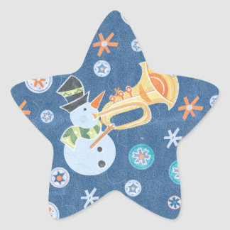 Trumpet Snowman Making Christmas Holiday Music Stickers
