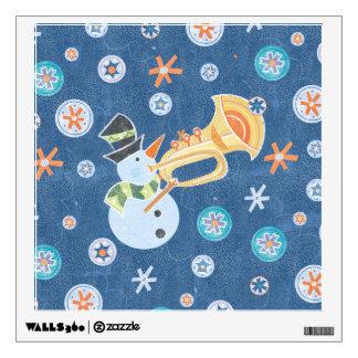 Trumpet Snowman Making Christmas Holiday Music Wall Decor