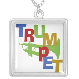 Trumpet Square Pendant Necklace