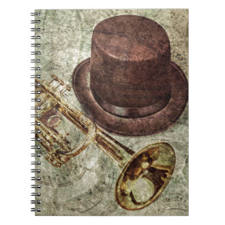 Trumpet, top hat and musical notes notebook