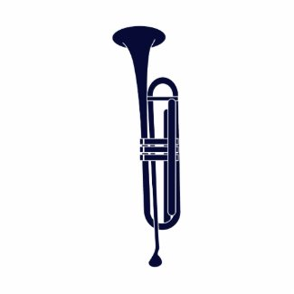 Trumpet Vertical Solid Blue Musician Graphic Photo Cut Out