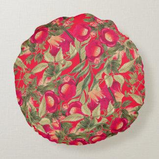 Trumpet Vine Flower Floral Botanical Round Pillow