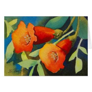 Trumpet Vine Flowers Card
