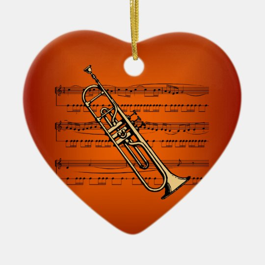 Trumpet w/Sheet Music ~ Flame Color Background Ceramic Ornament