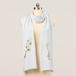 Trumpet with Music Clefs and Musical Notes Scarf
