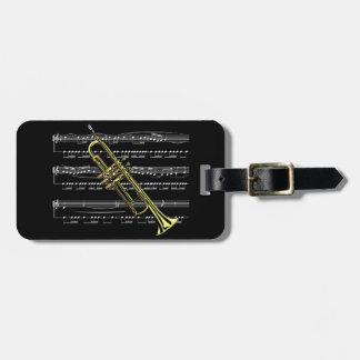 Trumpet with Sheet Music and Black Background Bag Tag