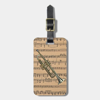 Trumpet With Sheet Music Background Bag Tag