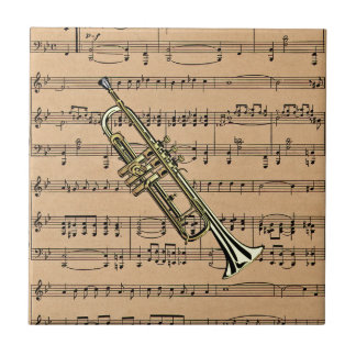 Trumpet With Sheet Music Background Ceramic Tile