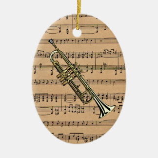 Trumpet With Sheet Music Background Double-Sided Oval Ceramic Christmas Ornament